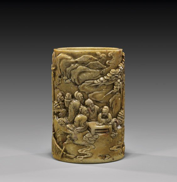 CHINESE CARVED SOAPSTONE BRUSHPOT