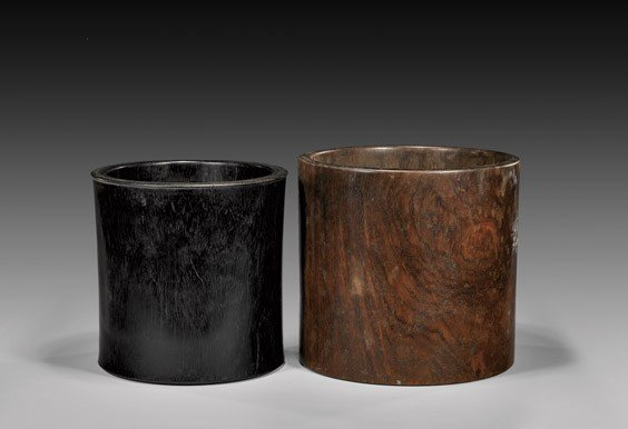 TWO LARGE CHINESE WOOD BRUSHPOTS