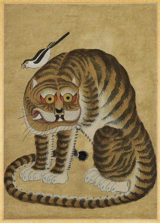 ANTIQUE KOREAN FOLK PAINTING: Tiger