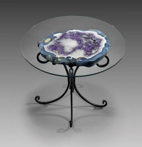 FINE AMETHYST GEODE TABLE