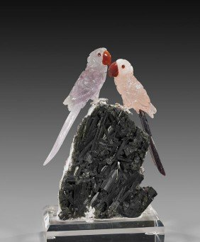 ROSE QUARTZ & AMETHYST MACAW PAIR