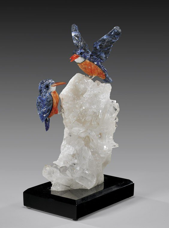 SODALITE KINGFISHER PAIR ON QUARTZ