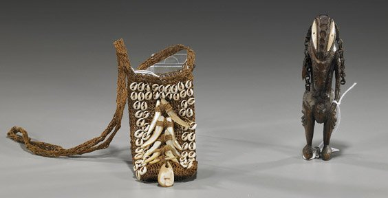 5: South Pacific Wood Figure with Pouch