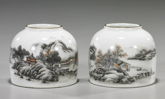 8: Pair Chinese Porcelain Brushwashers: Landscapes