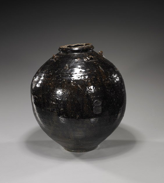 9: Large Antique Henan-Type Glazed Jar