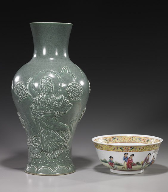 21: Two Chinese Porcelains: Vase & Bowl