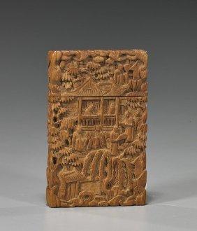 Antique Carved Sandalwood Card Case