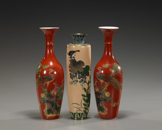 104: Pair Chinese Vases & Japanese Cloisonné Vase
