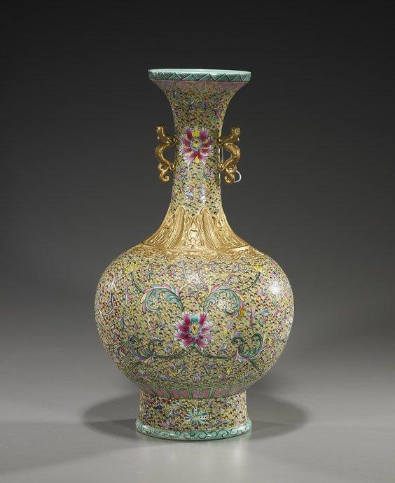105: Tall Chinese Famille Rose Porcelain Vase