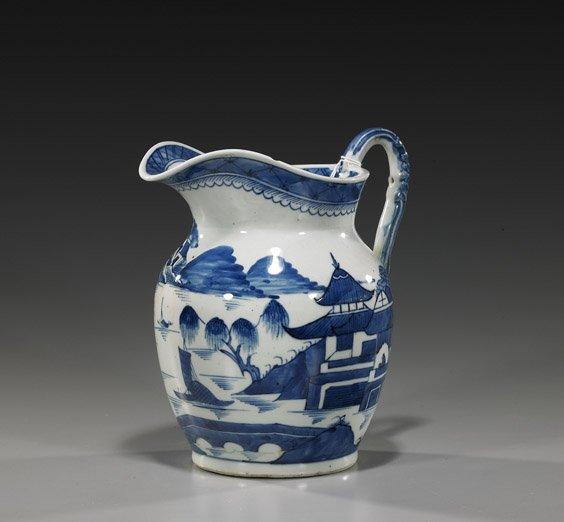 108: Antique Blue & White Export Porcelain Pitcher