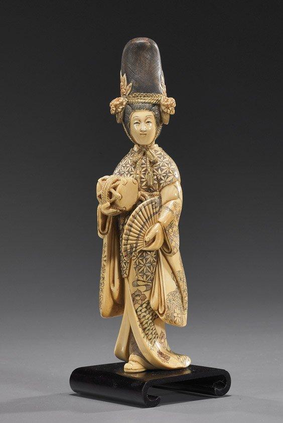 112: Carved Ivory Okimono: Kabuki Dancer