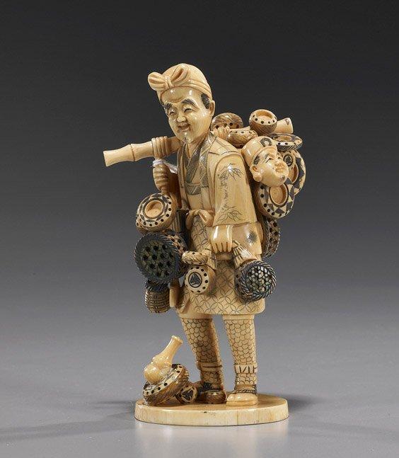 113: Carved Ivory Okimono: Basket Seller