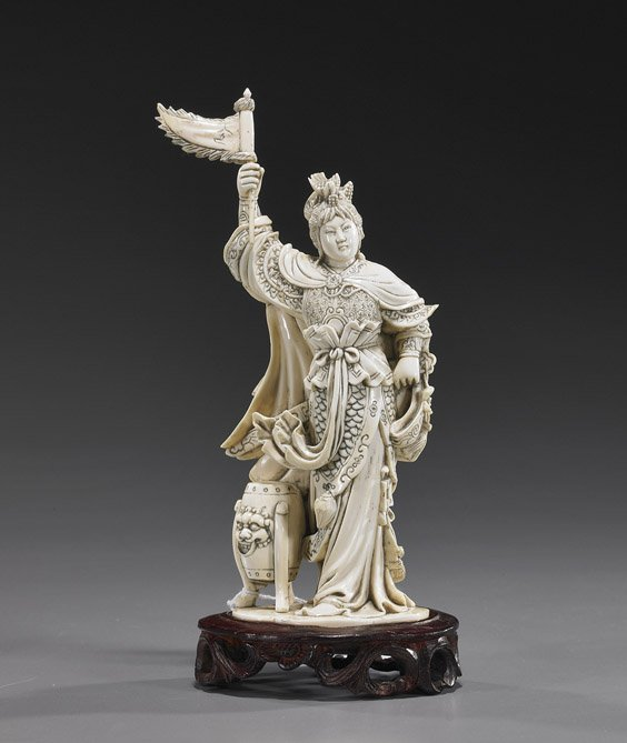 114: Chinese Carved Ivory Female Warrior