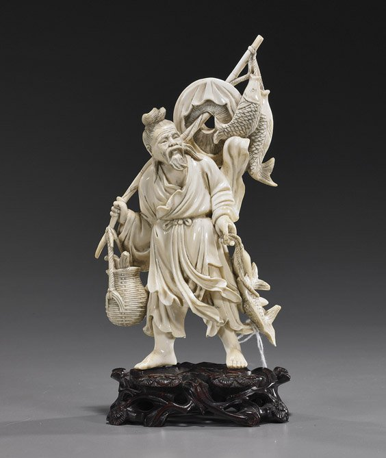 116: Chinese Carved Ivory Fisherman Sage