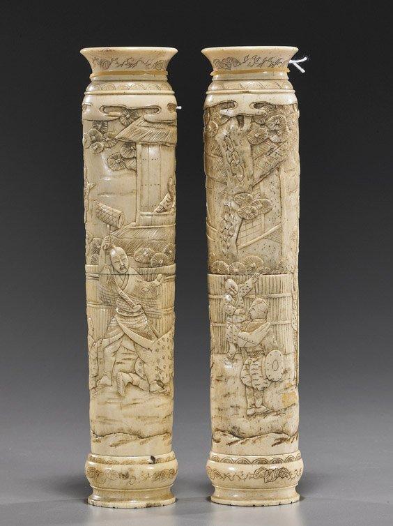 119: Pair Japanese Carved Bone Vases
