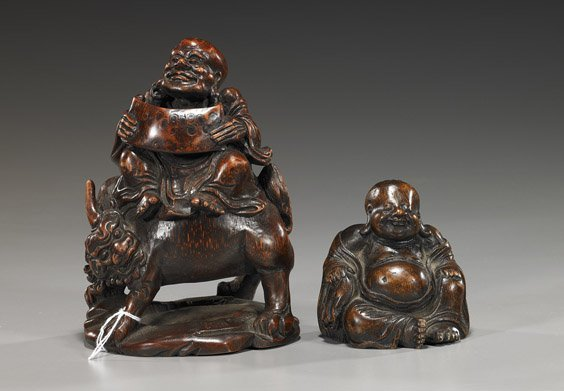 208: Two Chinese Carved Bamboo Figures