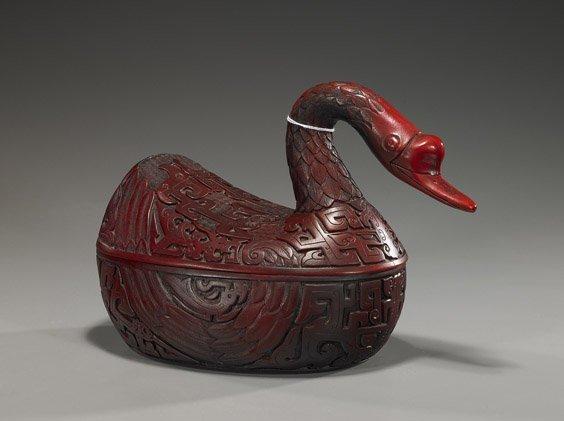 212: Chinese Cinnabar-Like Goose-Form Box