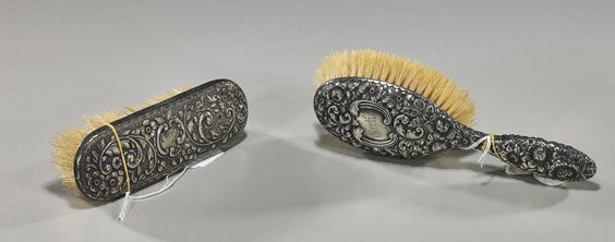 3: Two American Repoussé Silver Brushes