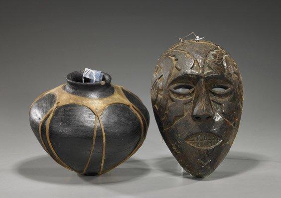 4: Primitive Pottery Jar & African Wood Mask