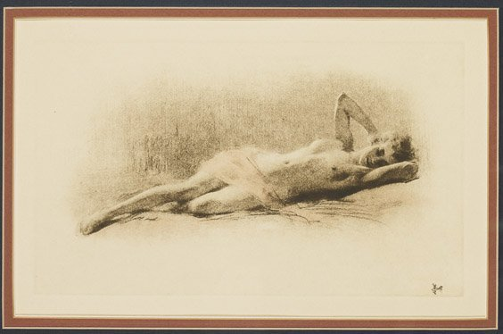 5A: Antique Engraving of a Nude in Repose