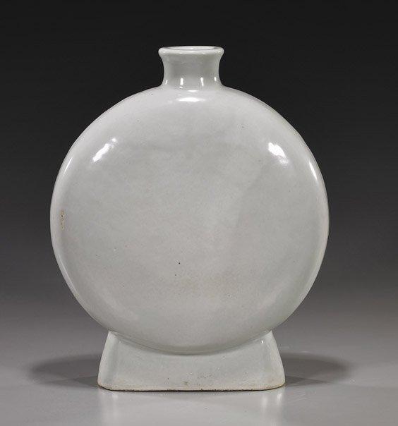 6: Large Chinese White Glazed Moon Flask