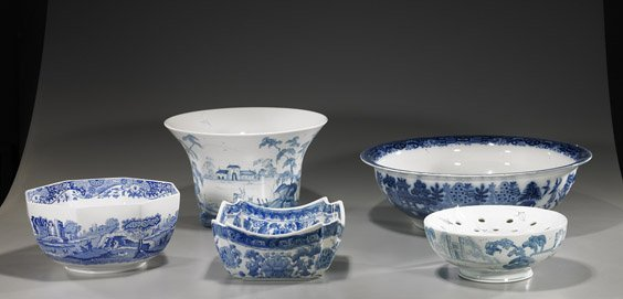 6A: Group of Various Blue & White Ceramics