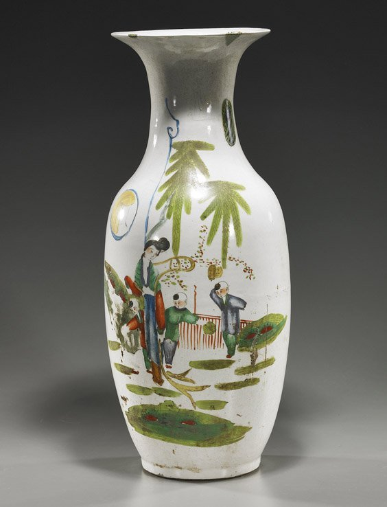 7: Tall Old Chinese Ovoid Porcelain Vase