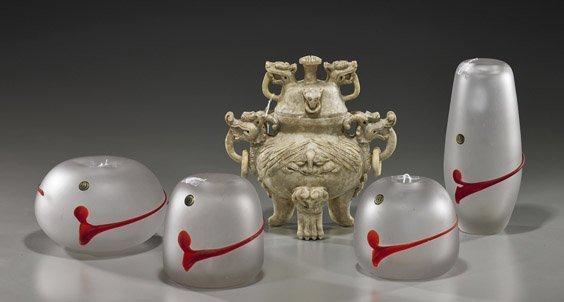 15: Four Glass Vases & Carved Hardstone Censer