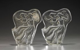 Pair Signed Orrefors Glass Bookends