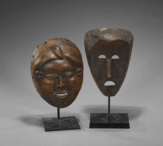 49: Two Old African Carved Wood Masks