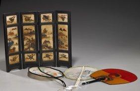 Various Fans & Antique Marble Tablescreen
