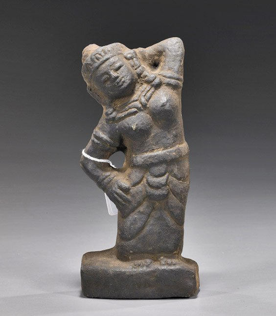 59: Asian Stone Carving of a Woman: Khmer(?)