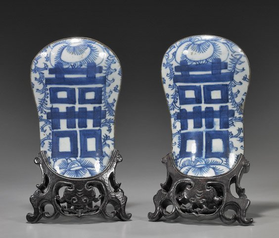 67: Pair Antique Chinese Porcelain Fragments