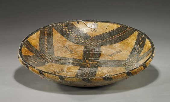 70: Large and Antique Painted Pottery Dish