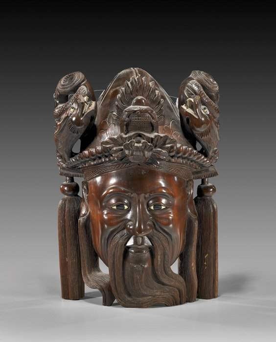 72: Chinese Carved Rosewood Emperor Mask