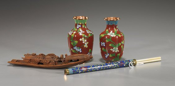 74: Three Chinese Cloisonné Items & Bamboo Boat