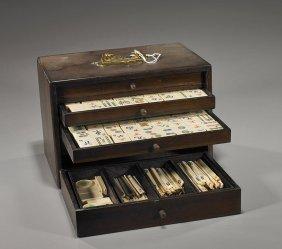 Boxed Chinese Bone & Bamboo Mahjong Set