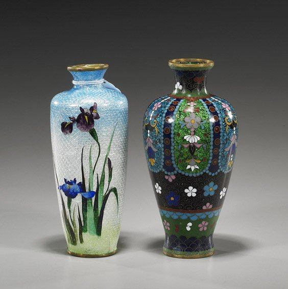76: Two Japanese Cloisonné Cabinet Vases