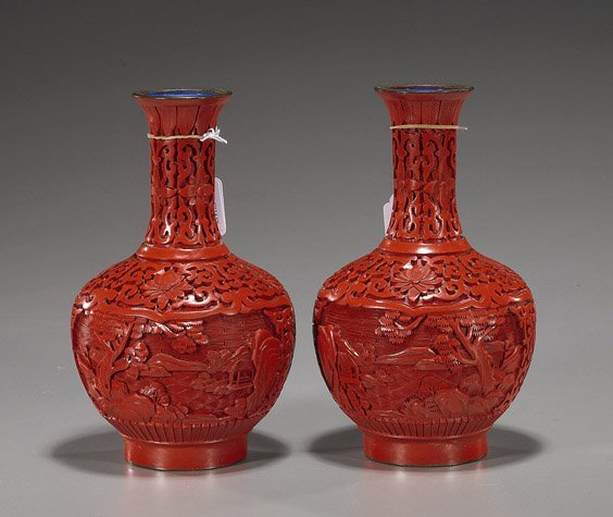 86: Pair Chinese Carved Cinnabar Lacquer Vases