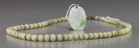 Chinese Jadeite Pendant & Onyx Necklace