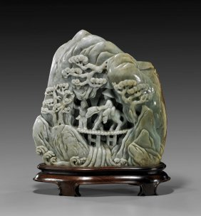 Large Chinese Carved Celadon Jade Mountain