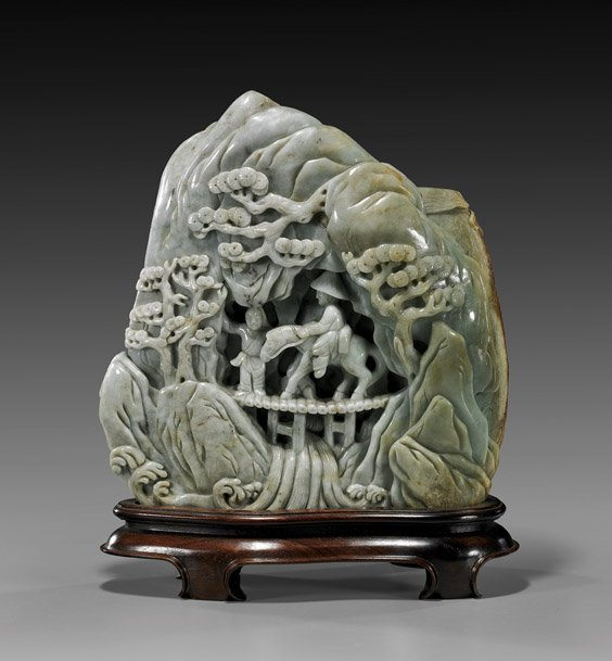 182: Large Chinese Carved Celadon Jade Mountain