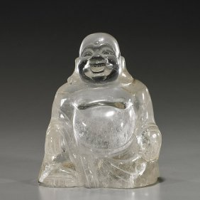 Chinese Carved Rock Crystal Budai