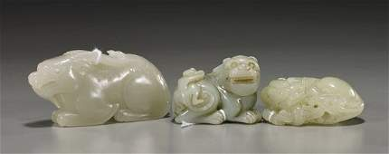 186 Group of Three Chinese Carved Jade Qilin