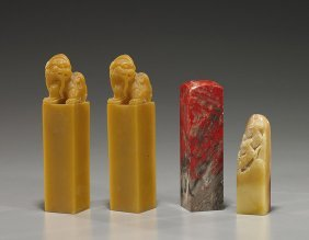 Group Of Four Chinese Carved Sealstone Seals