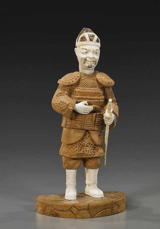 209: Chinese Carved Wood & Ivory Warrior