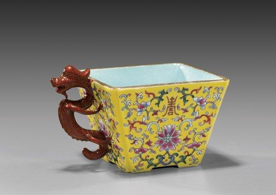 211: Famille Rose Porcelain Square Cup