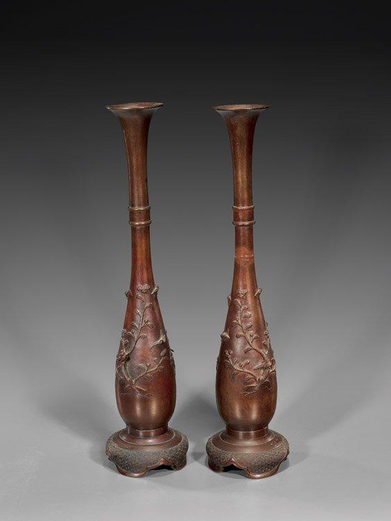 212: Pair Tall Antique Japanese Bronze Vases