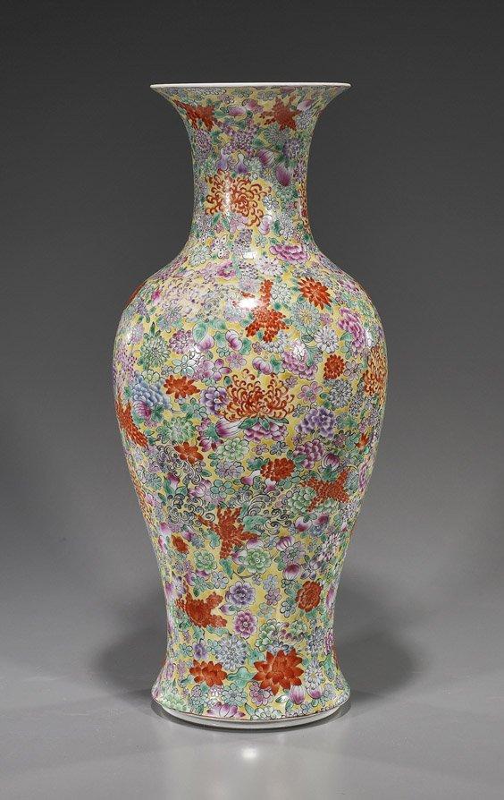 214: Tall Chinese Porcelain Millefleur Vase
