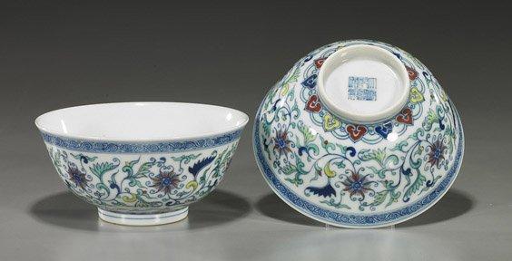 218: Pair Chinese Doucai Glazed Porcelain Bowls
